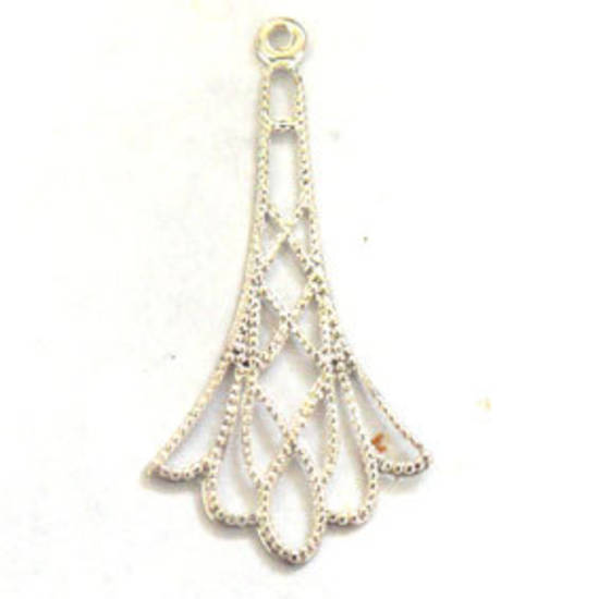 Antique Silver Chandelier Top, long deco drop