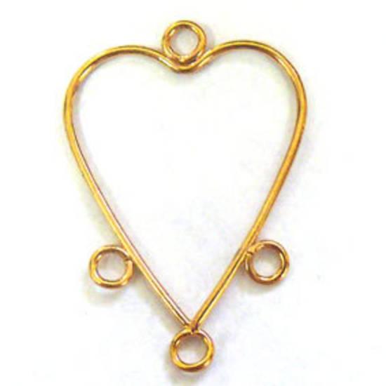 Gold Chandelier Top, plain long heart, 3 loops