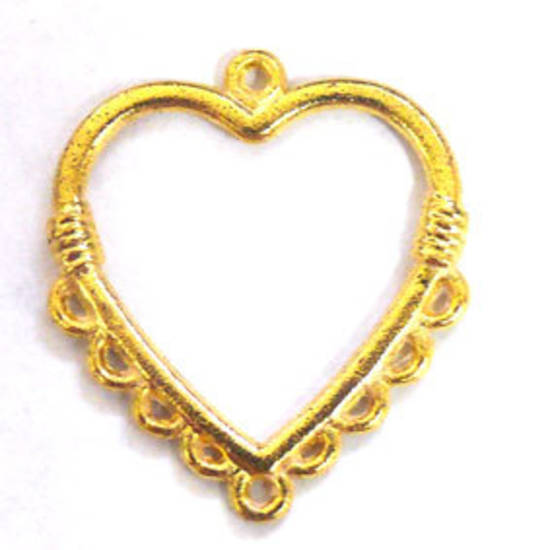 Gold Chandelier Top, Large heart with loops