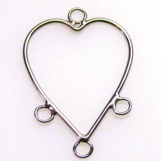 Chandelier Top, Plain heart, 3 loops, ant silver