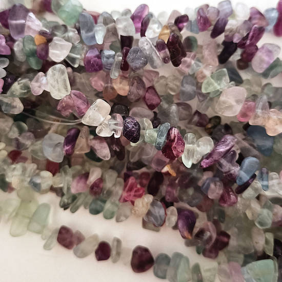 Rainbow Fluorite chips: 42cm strand