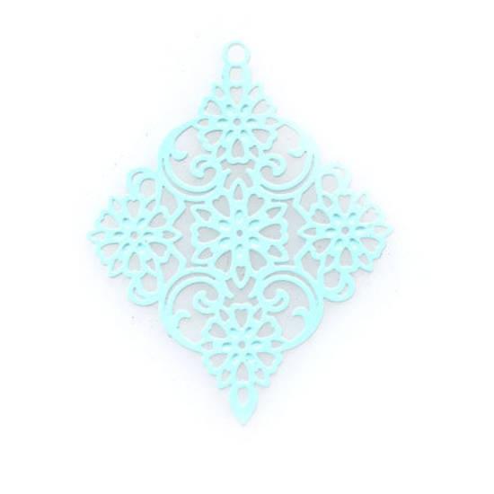 Tin Charm: Light aqua filigree diamond (30 x 38mm)
