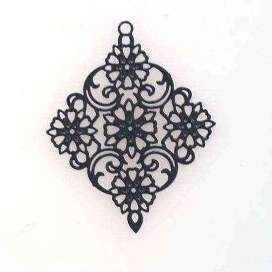 Tin Charm: Black filigree diamond (30 x 38mm)