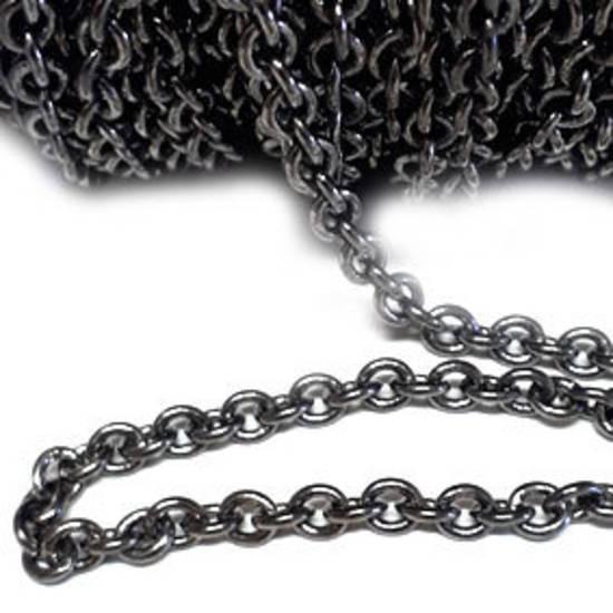 Medium Curbed Chain, Gunmetal