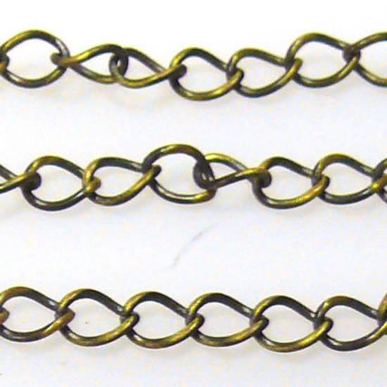 Thin Medium Curbed Chain: Antique Brass (5mm)