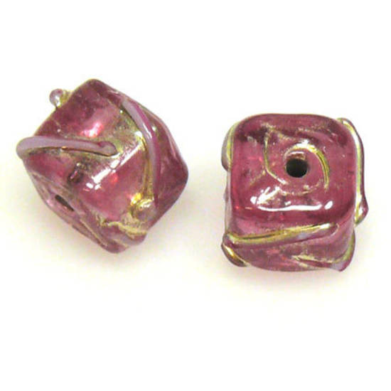 Indian Lampwork, Pink Cube with silvery markings