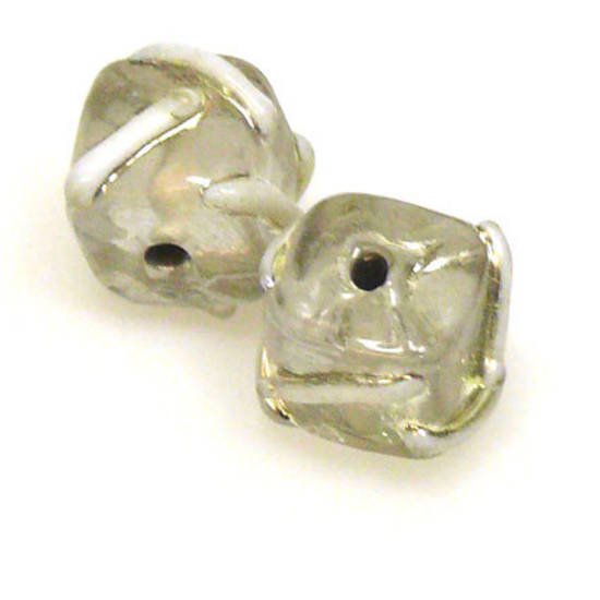 Indian Lampwork Cube, Silvery Grey with silvery white markings