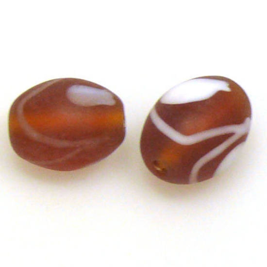 Chinese Lampwork Oval, matte brown and white