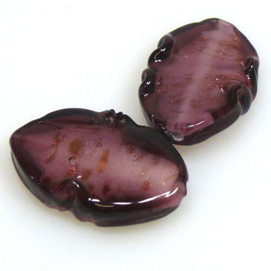 Chinese Lampwork Flat Oval with slight twist, Amethyst with gold fleck