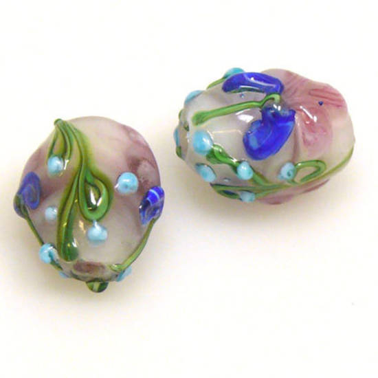 Chinese Lampwork, Oval, Light Amethyst with flowers