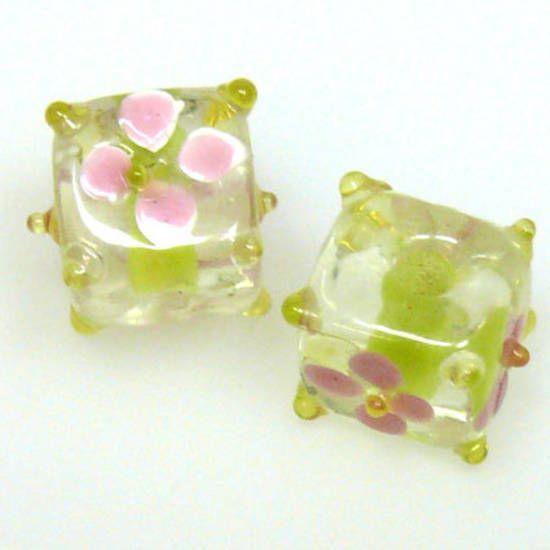 Chinese Lampwork Cube, Lime Yellow with Pink Flower