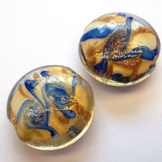 Chinese lampwork cushion, blue/gold/cream swirl design