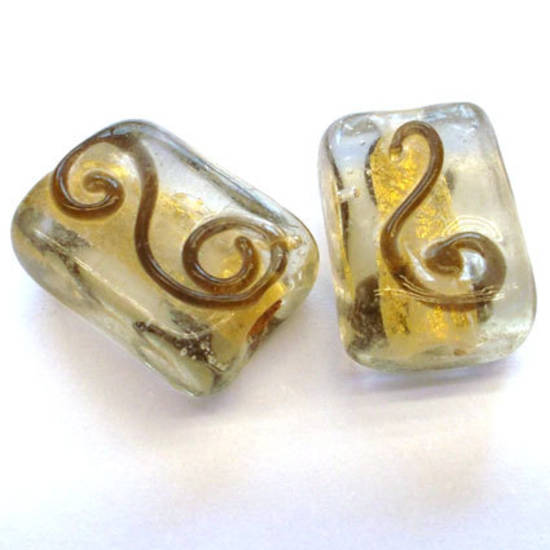 Chinese lampwork square, clear with gold foil and brown spiral