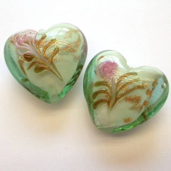 Chinese lampwork heart, mint with pink flower decoration