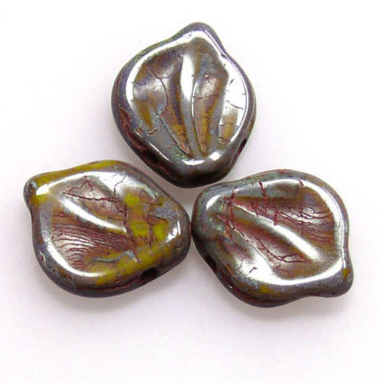 Fat Curved Leaf, 12mm x 15mm - Olivine/Blue china mix
