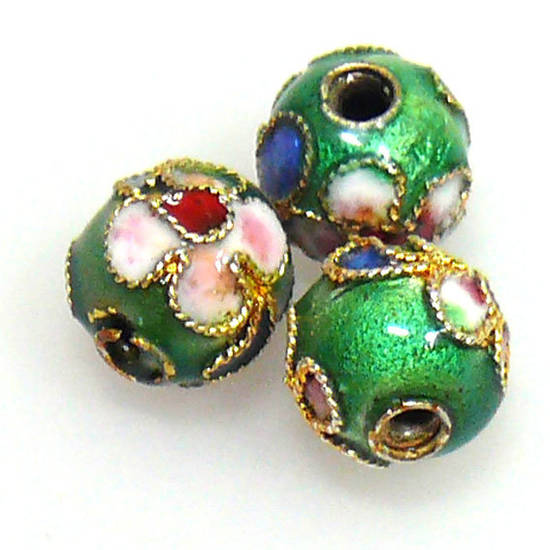 Cloisonne Bead, 8mm round, Green with floral decoration