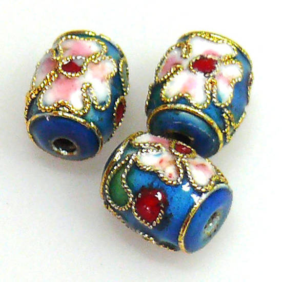 Cloisonne Bead, small barrel, 10mm x 8mm, Teal Blue with floral decoration