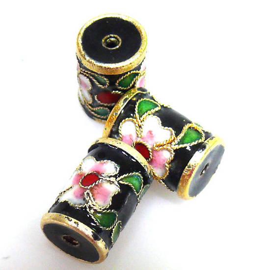 Cloisonne Bead, Barrel 14mm x 10mm. Aqua with floral decoration.