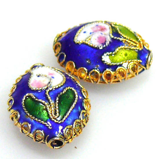 Cloisonne Bead, cushion oval 15mm x 13mm. Blue with floral decoration.