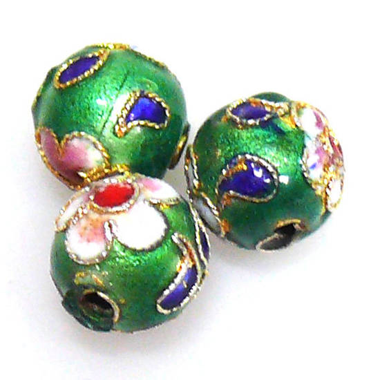 Cloisonne Bead, 10mm round, Green with floral decoration