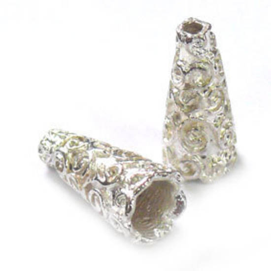 Tall Triangle Cone, 8x18mm - Bright Silver, swirls