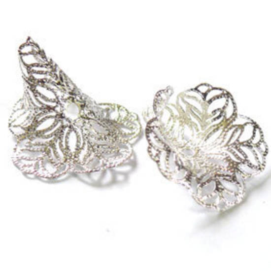 Large filigree cone, 28x44mm - Bright silver - self adjusting