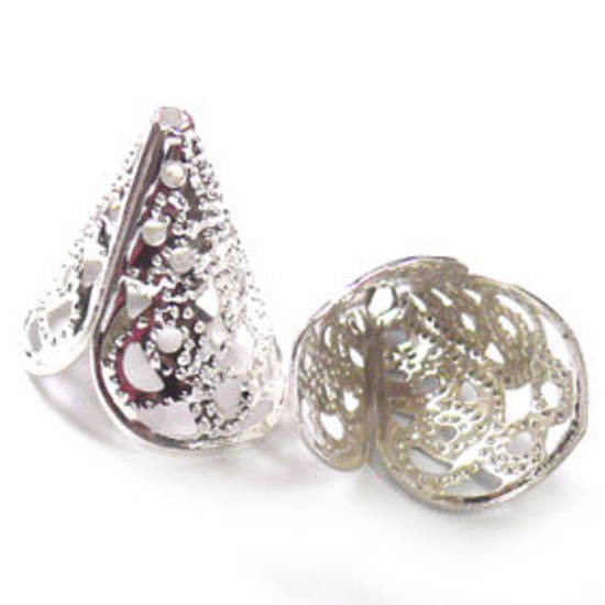 Bright silver filigree cone, triangular