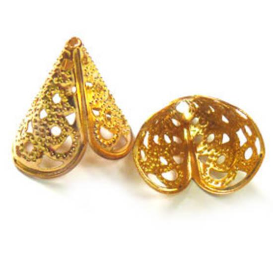 Gold  filigree cone, triangular