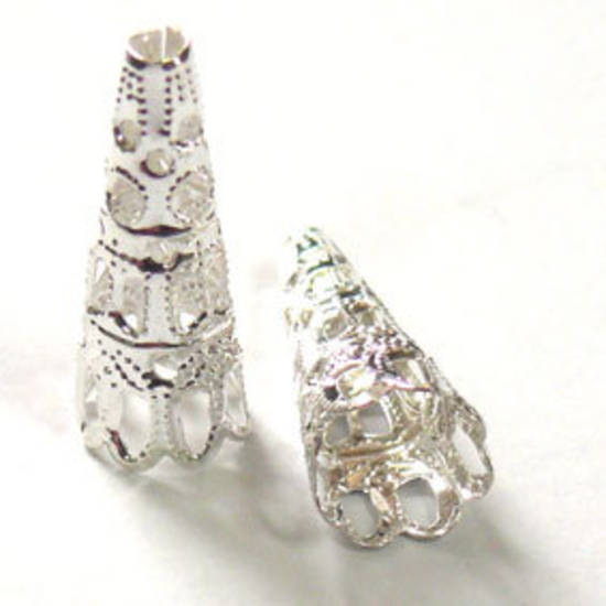 Bright silver filigree cone, tall triangle