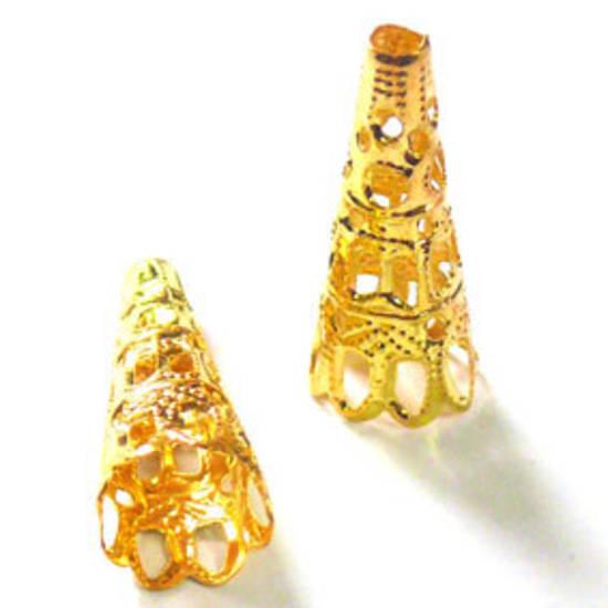 Gold filigree cone, tall triangle