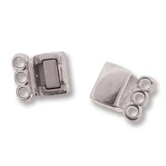 NEW! Magnetic 3 Strand Spacer Clasp (13.7mm x 6.6mm) - bright silver plate