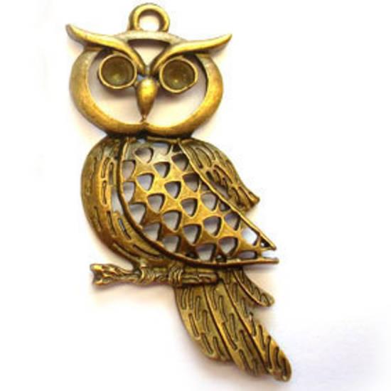 Metal Charm: Large Owl - brass