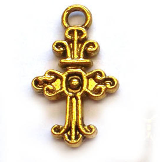 Metal Charm: Curly Cross - gold