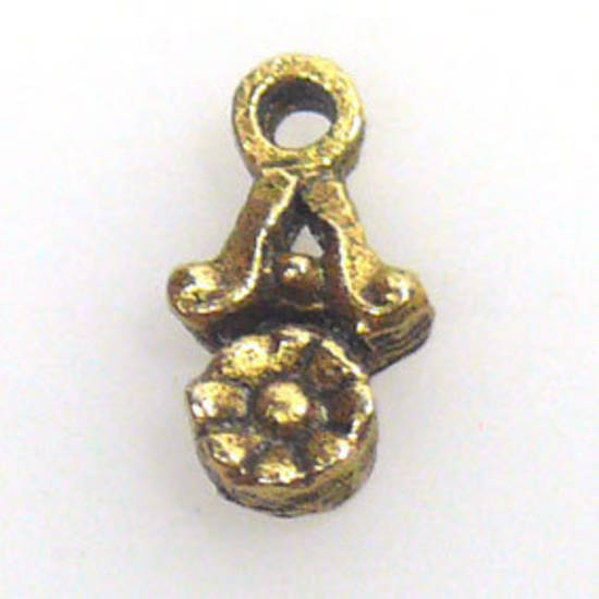 Metal Charm: Daisy drop - gold