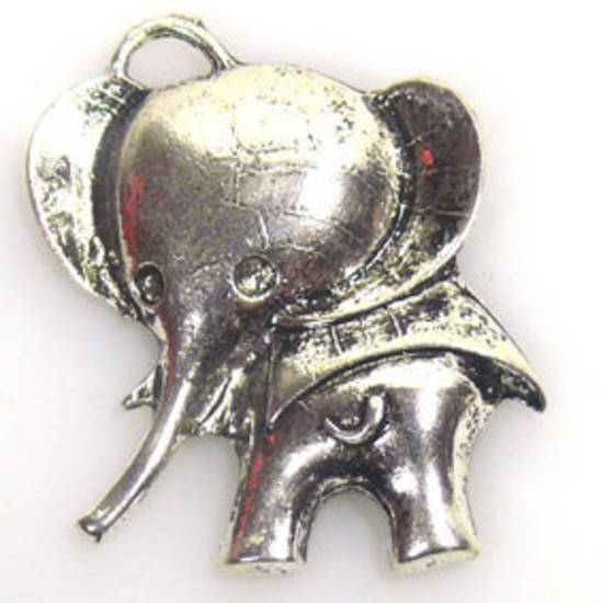 Metal Charm: Large elephant - antique silver