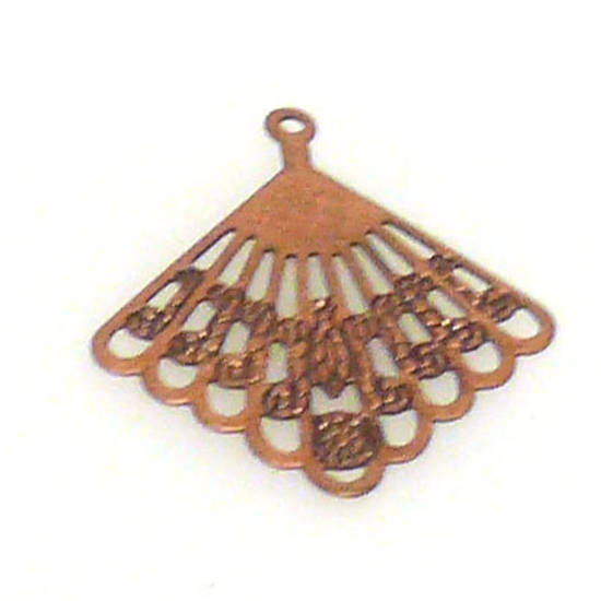 Metal Charm: Open fan - copper