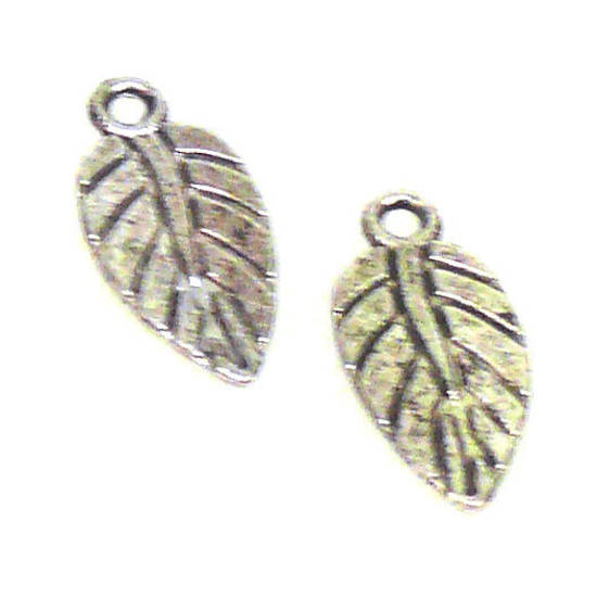 Metal Charm: Etched leaf - antique silver