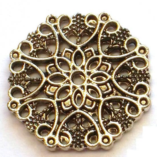Metal Bead: Filigree disc - antique silver