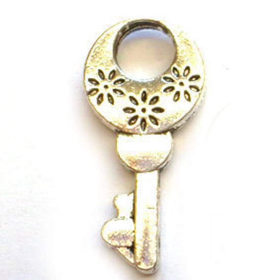 Metal Charm: Triple Flower Head Key - antique silver