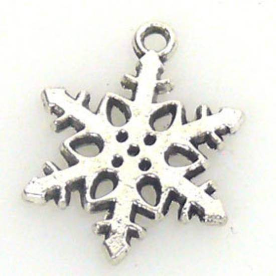 Metal Charm: Cut out snowflake - antique silver