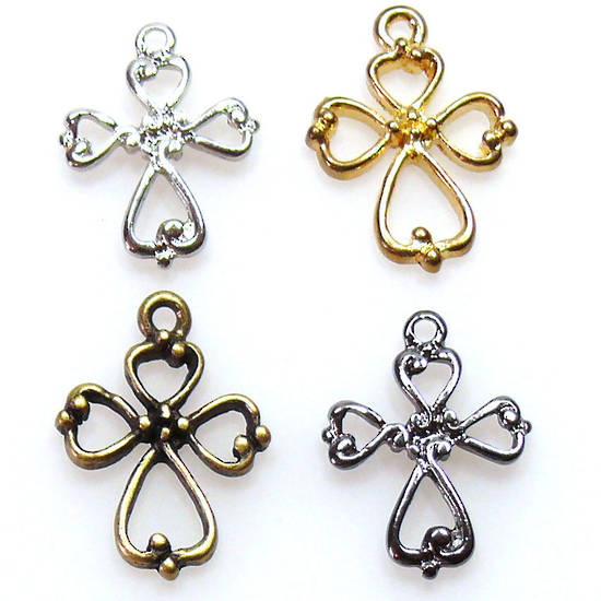 Metal Charm: Celtic Cross - silver/gold/brass
