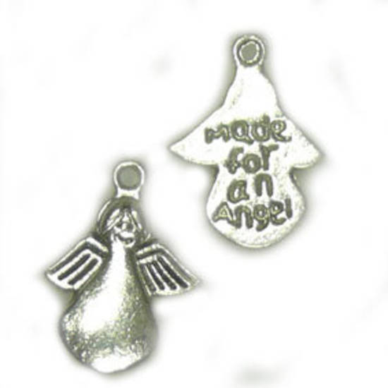 Metal Charm:  'Made for an Angel' - antique silver