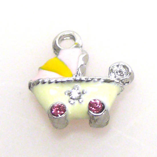 Enamelled Metal Charm: Baby Carriage