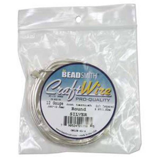 Beadsmith Craft Wire, Silver Colour: 12 gauge
