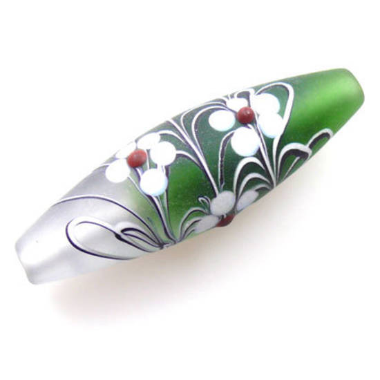 Czech Lampwork, opaque oval, emerald and clear with flower decoration.