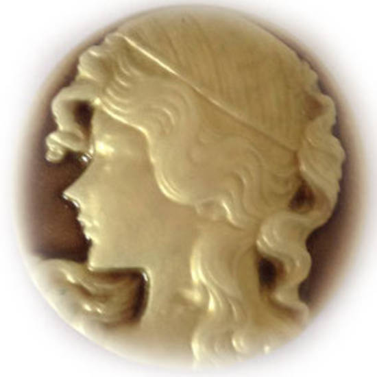 Cameo Cabochon: Brown and ivory 30mm round, Greek style female head