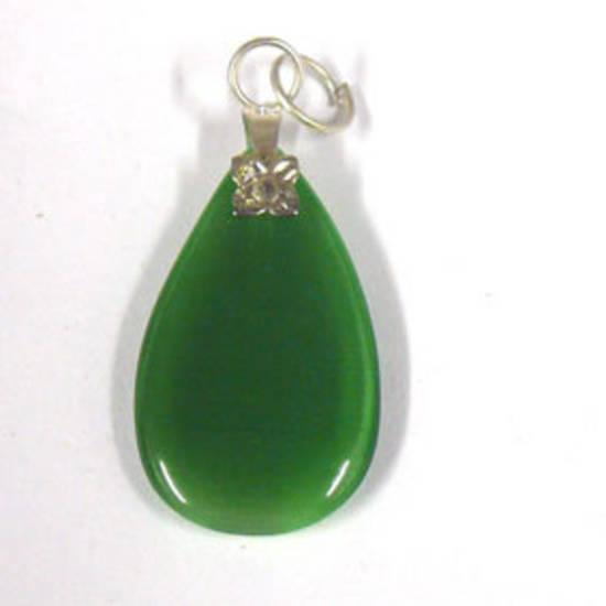 26mm Fibre Optic Pear Pendant: Green