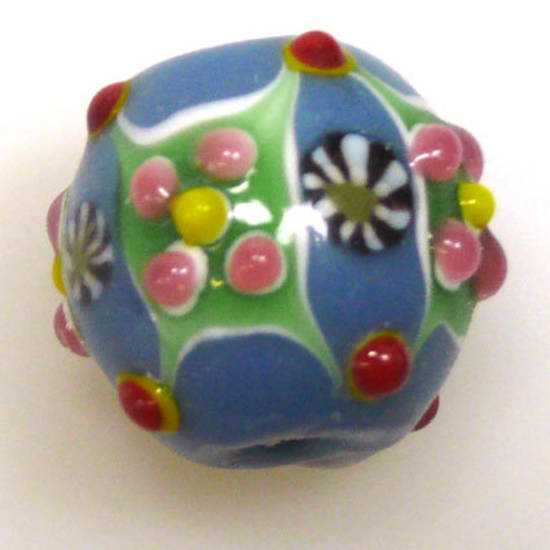Fabulous Large Round Lampwork, blue with standout designs