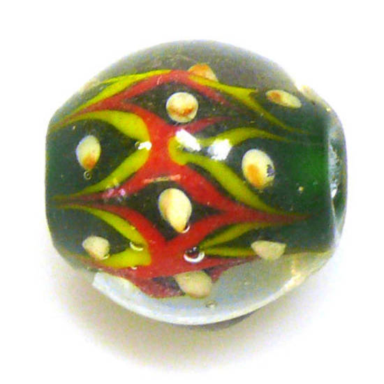Fabulous Large Round Lampwork, green with red and yellow design
