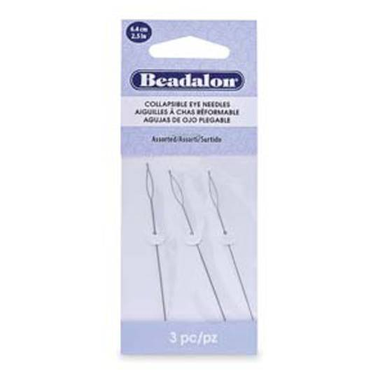 NEW! Beadalon Collapsible Eye Needle, 6.4cm long: assorted 3 pack (fine, med, thick)